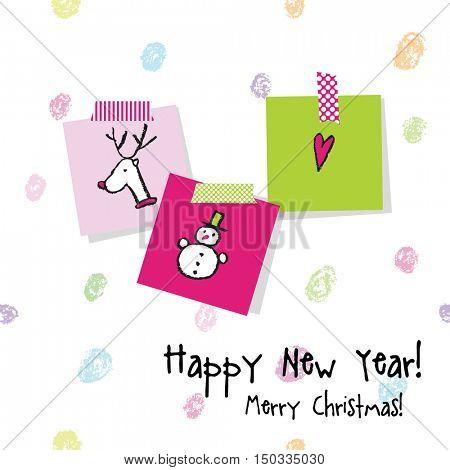New year card. Hand drawn. Design elements.