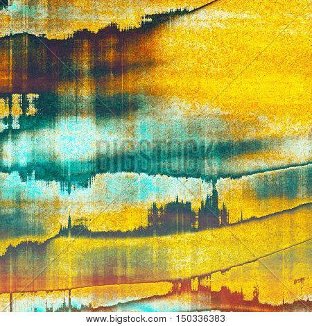 Vintage texture or antique background with grunge decorative elements and different color patterns: yellow (beige); brown; blue; red (orange); cyan