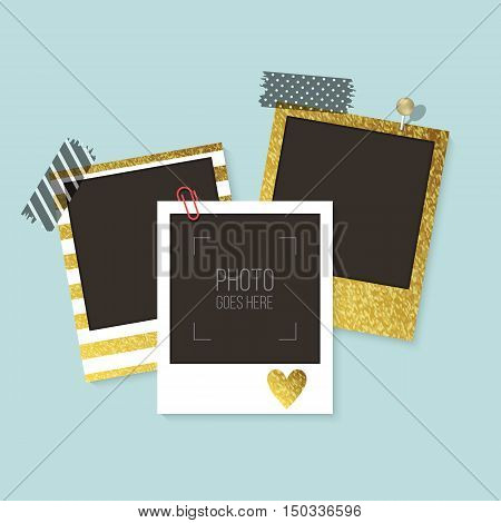 Realistic Vector Retro Photo Frames With Gold, Black And White Patterns. Template Photo Design. Vect