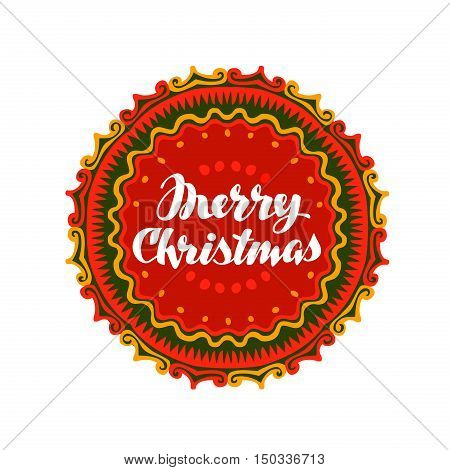 Merry Christmas. banner with decorative ornaments. Vector illustration isolated on white background