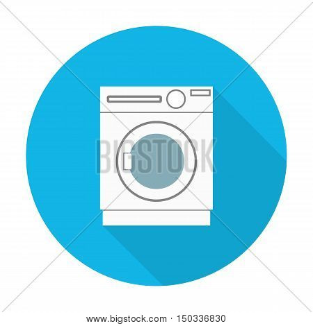 washer flat icon with long shadow for web design