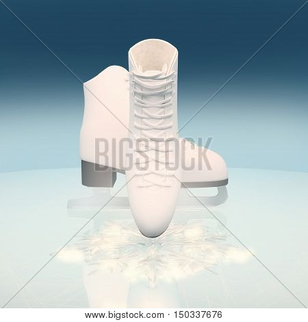 Ice skates with reflection. The skates for figure skating against the background of ice. 3D illustration