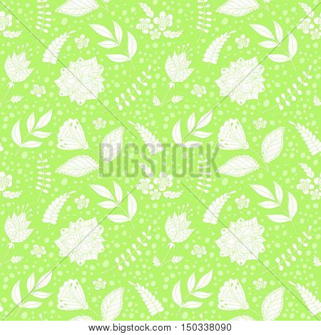 Seamless vector pattern with floral elements. Seamless monochrome vector pattern with flowers.Floral patten. Vector flowers pattern. Doodle flowers background. Floral elements. Textile floral pattern.