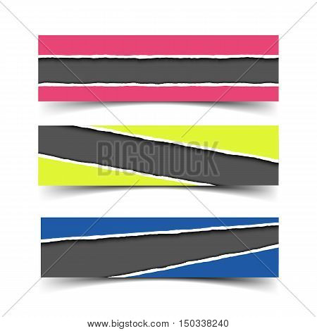 Set of three vector torn paper banners. Color ripped pieces of paper with hole in paper with shadow isolated on white background.