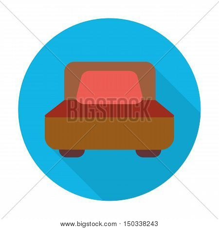 bed flat icon with long shadow for web design