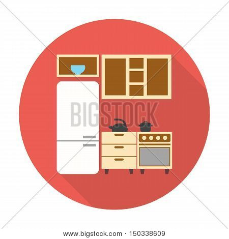 kitchen, refrigerator flat icon with long shadow for web design
