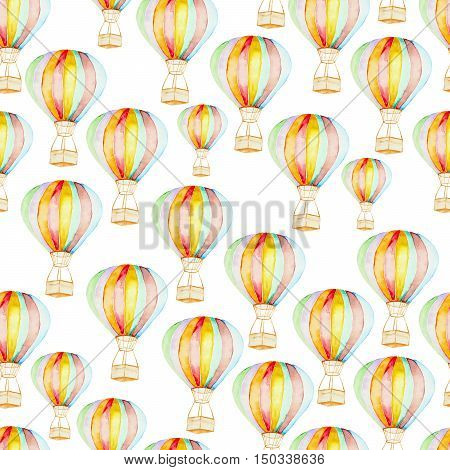 Seamless pattern whith hot air balloons in colorful watercolor