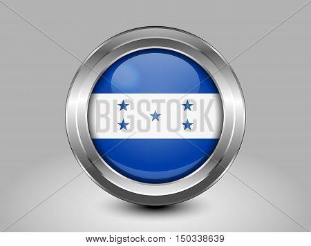 Flag Of Honduras. Metal And Glass Round Icon