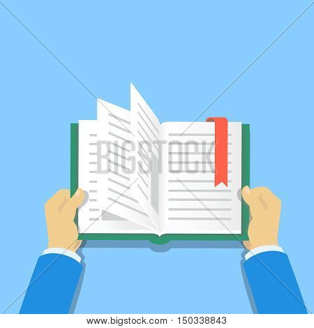 Hands holding a book. People reading books vector flat illustration. Reading themed banners