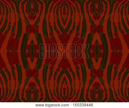 Abstract geometric seamless background. Regular symmetric ornaments dark red and dark green on orange.
