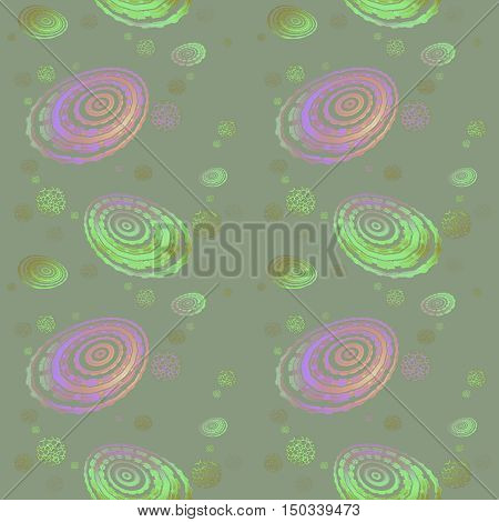 Abstract geometric seamless background. Regular concentric circles and ellipses pattern and various round elements in purple, orange and green shades on gray.