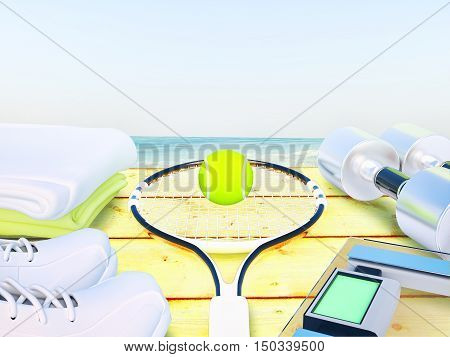 Fitness equipment on wooden background. 3D illustration