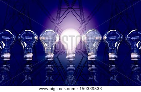 Line from seven lamps one lamp shines in the background electricity pylons. 3D illustration