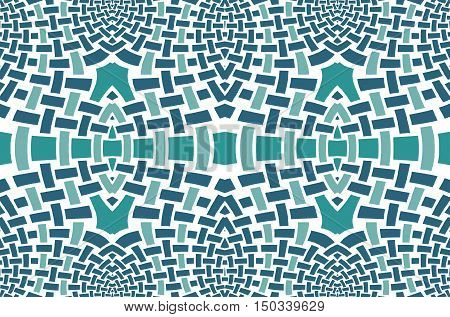 Abstract geometric seamless background. Regular mosaic with oval elements dark gray, dark green and pale green on white.