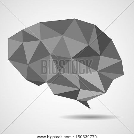 Abstract geometric human brain from triangles isolated on white background