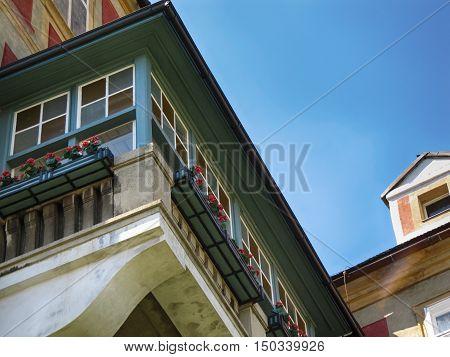 Javornik Town Czech republic - August 20 2011: Balcony on the Jansky Hill (Jansky Vrch) Castle in Javornik Town Olomouc Region