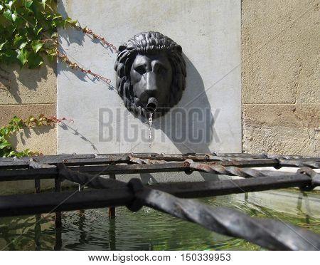 Javornik Town Czech republic - August 20 2011: Lion Head Wall Water Fountain on the Jansky Hill (Jansky Vrch) Castle Olomouc Region