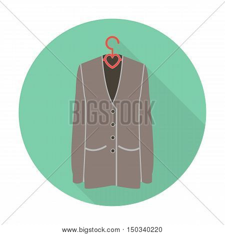 jacket flat icon with long shadow for web design