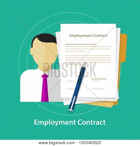 employment contract paper document desk and hand human resources vector