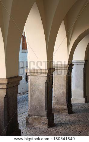 A medieval colonnade in Telc, Czech Republic