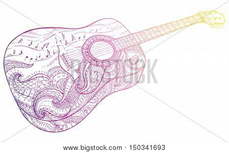Stylized Classical Guitar. Retro . Musical Instrument. Music. Rock. Line Art. Drawing By Hand. Graph