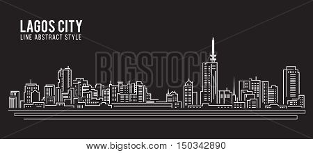 Cityscape Building Line art Vector Illustration design - Lagos city