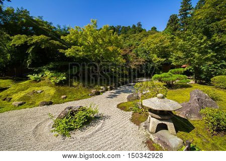 Zen gardens of Kyoto City at Japan