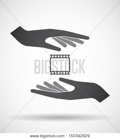Isolated Pair Of Hands Protecting Or Giving   A Photographic 35Mm Film Strip