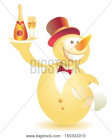 Snowman-waiter in top hat with champagne. Vector illustration.