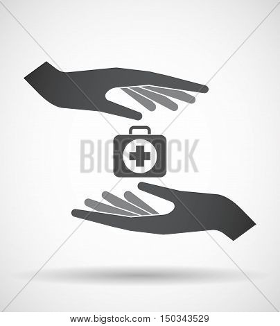 Isolated Pair Of Hands Protecting Or Giving  A First Aid Kit Icon