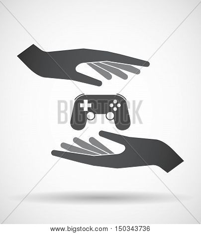 Isolated Pair Of Hands Protecting Or Giving  A Game Pad