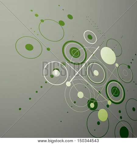 Bauhaus art dimensional composition perspective green modular vector backdrop with circles and grid.