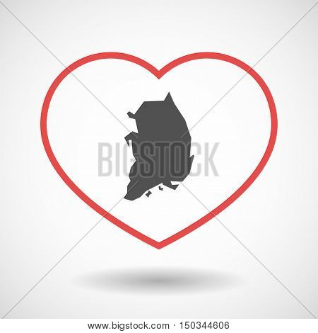 Isolated Line Art Red Heart With  The Map Of South Korea