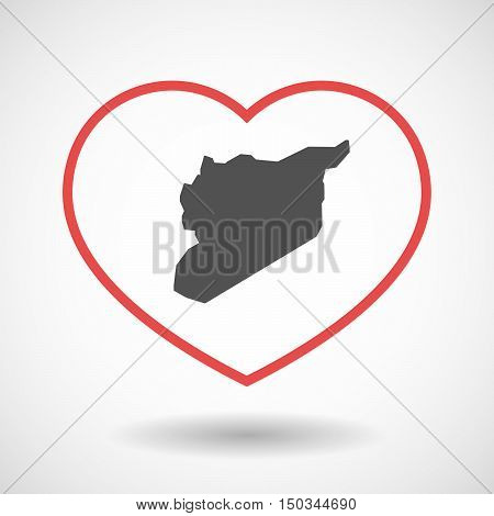 Isolated Line Art Red Heart With  The Map Of Syria