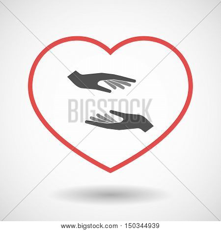 Isolated Line Art Red Heart With  Two Hands Giving And Receiving  Or Protecting