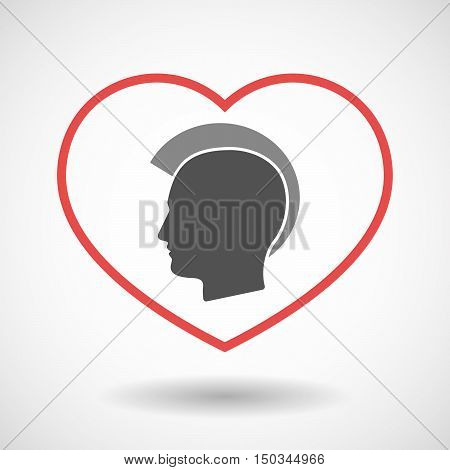 Isolated Line Art Red Heart With  A Male Punk Head Silhouette
