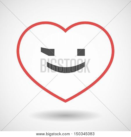 Isolated Line Art Red Heart With  A Wink Text Face Emoticon