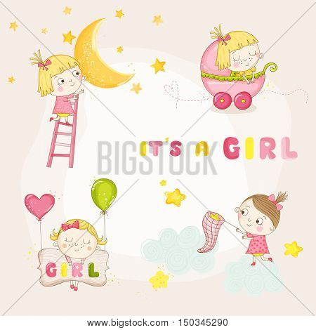 Set of Cute Baby Girl Illustrations - for Baby Shower or Arrival Card - in vector