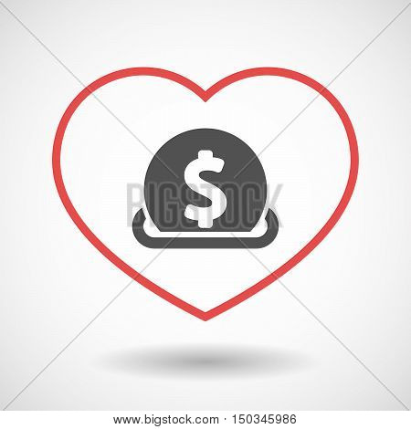 Isolated Line Art Red Heart With  A Dollar Coin Entering In A Moneybox