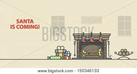 Christmas greeting card. Fireplace in home. Outline vector illustration.