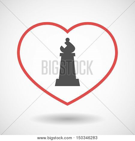 Isolated Line Art Red Heart With A Bishop    Chess Figure