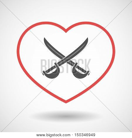 Isolated Line Art Red Heart With  Two Swords Crossed
