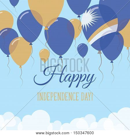 Marshall Islands Independence Day Flat Greeting Card. Flying Rubber Balloons In Colors Of The Marsha