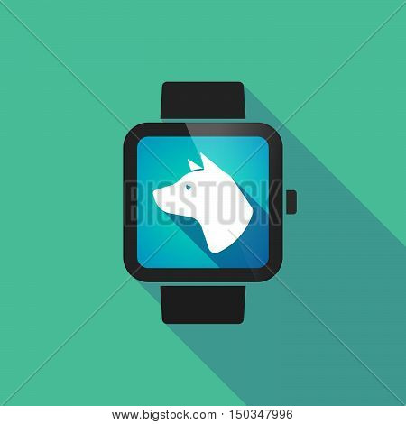 Long Shadow Smart Watch With  A Dog Head