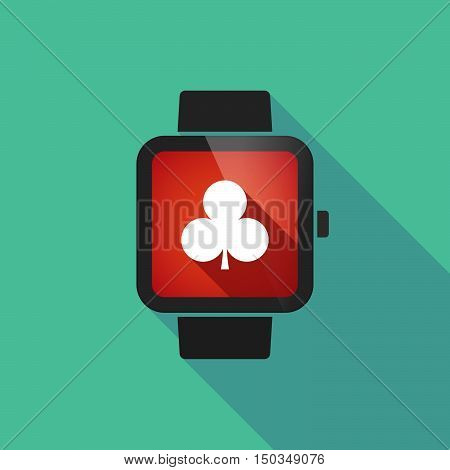 Long Shadow Smart Watch With  The  Club  Poker Playing Card Sign