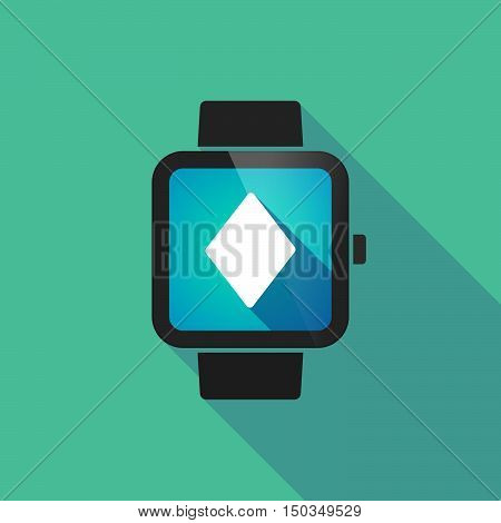Long Shadow Smart Watch With  The  Diamond  Poker Playing Card Sign