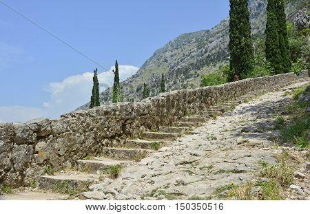Part of the defensive hillside city walls above Kotor in Montenegro.