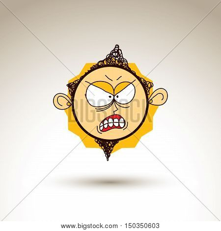 Vector Colorful Hand Drawn Illustration Of Irritated Cartoon Boy Isolated On White Background, Simpl