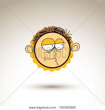 Vector Hand Drawn Cartoon Melancholy Boy. Web Avatar Theme Graphic Design Element Isolated On White.