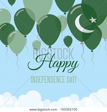 Pakistan Independence Day Flat Greeting Card. Flying Rubber Balloons In Colors Of The Pakistani Flag